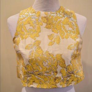 Dressy Crop top Jacquard print yellow  silver sz 0